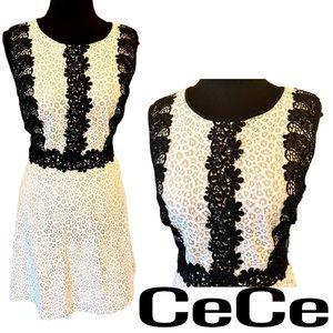 CeCe Poppy Field Ivory Black Dress Women's Size 10